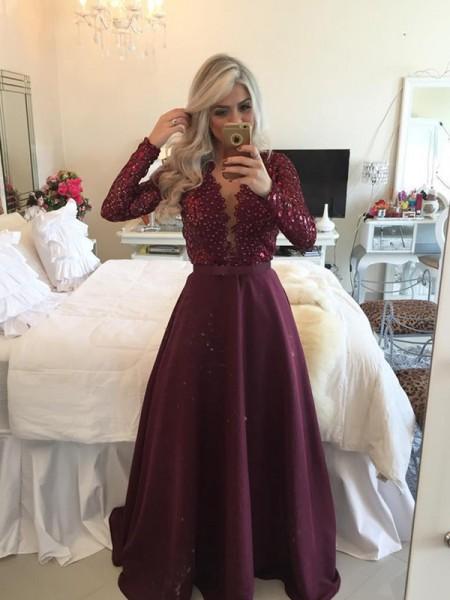 A-Line/Princess Floor-Length Satin Long Sleeves Scoop Sequin Dresses