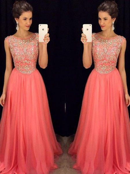 A-Line/Princess Floor-Length Chiffon Sleeveless Scoop Beading Dresses