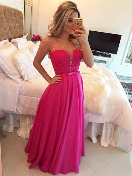A-Line/Princess Floor-Length Chiffon Short Sleeves Scoop Beading Dresses