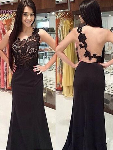 Sheath/Column Floor-Length Chiffon Sleeveless Scoop Lace Dresses