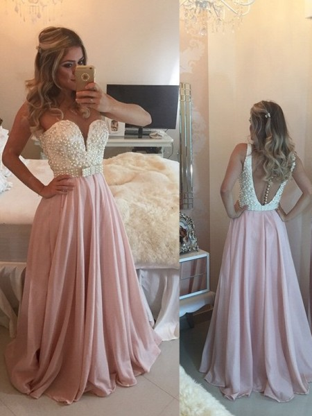 A-Line/Princess Floor-Length Chiffon Sleeveless Sweetheart Pearls Dresses