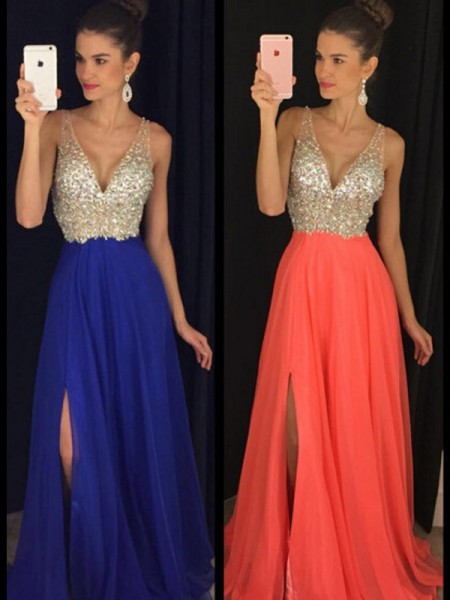 A-Line/Princess Floor-Length Chiffon Sleeveless V-neck Beading Dresses