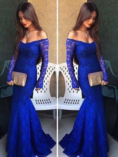 Trumpet/Mermaid Sweep/Brush Train Lace Long Sleeves Off-the-Shoulder Lace Dresses