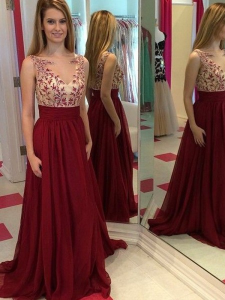 A-Line/Princess Floor-Length Chiffon Sleeveless Bateau Applique Dresses