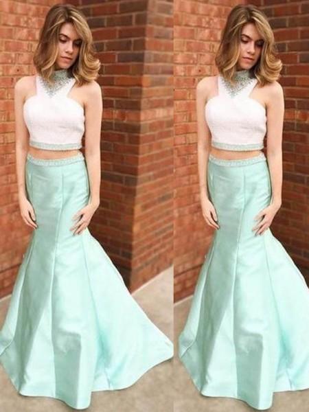 Trumpet/Mermaid Floor-Length Satin Sleeveless High Neck Beading Dresses