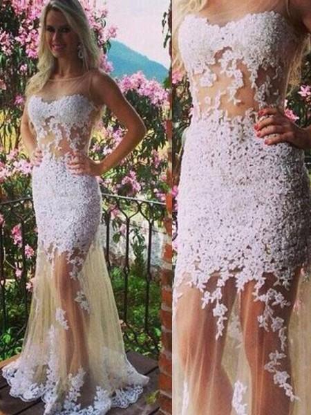 Trumpet/Mermaid Floor-Length Tulle Sleeveless Scoop Applique Dresses