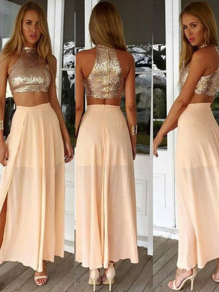 A-Line/Princess Ankle-Length Chiffon Sleeveless High Neck Sequin Dresses