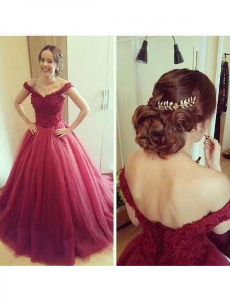 Ball Gown Court Train Tulle Sleeveless Off-the-Shoulder Applique Dresses