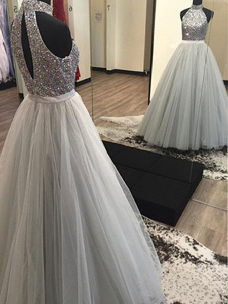 A-Line/Princess Floor-Length Tulle Sleeveless Halter Beading Dresses
