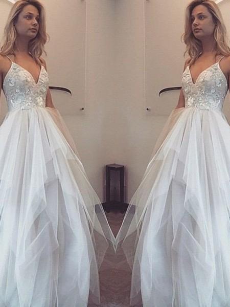 A-Line/Princess Floor-Length Tulle Sleeveless Spaghetti Straps Applique Dresses