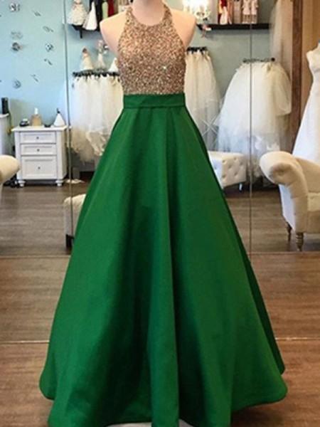 A-Line/Princess Floor-Length Satin Sleeveless Halter Beading Dresses