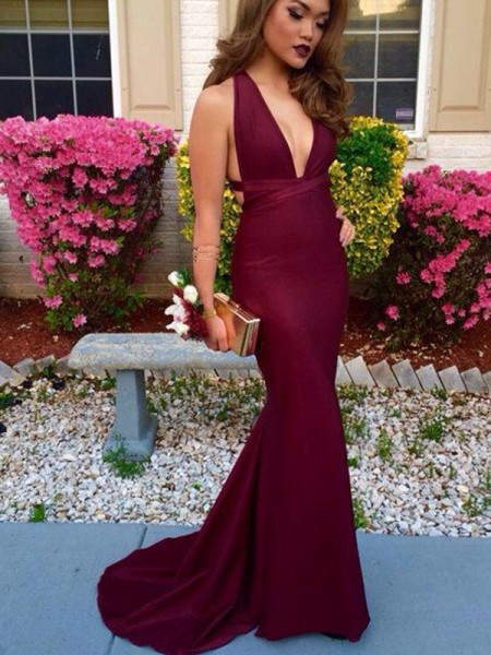 Trumpet/Mermaid Sweep/Brush Train Spandex Sleeveless V-Neck Dresses