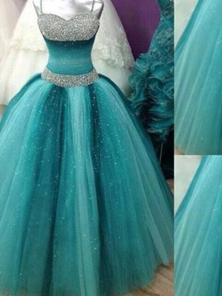 Ball Gown Floor-Length Tulle Sleeveless Spaghetti Straps Beading Dresses
