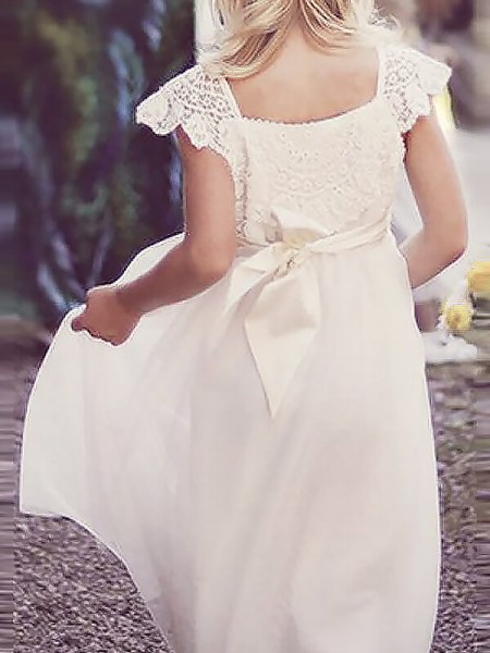A-line/Princess Floor-Length Chiffon Short Sleeves Square Lace Flower Girl Dresses