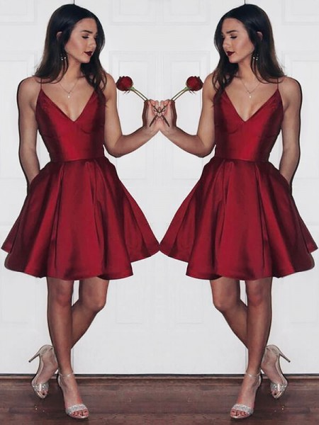 A-line/Princess Sleeveless Short/Mini Satin V-neck Dresses