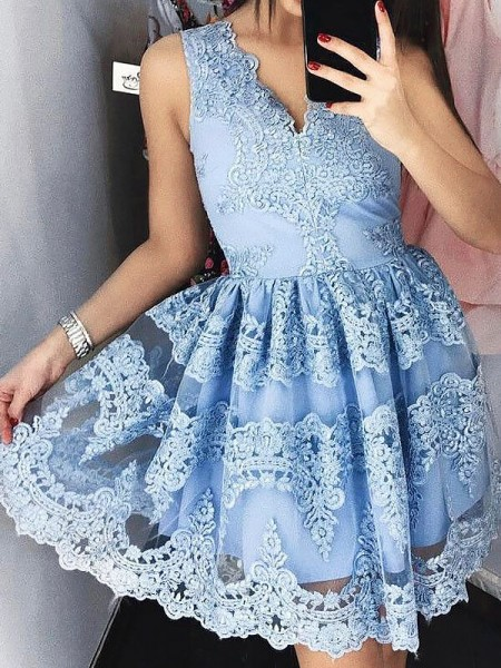 A-line/Princess Short/Mini Lace Sleeveless V-neck Dresses