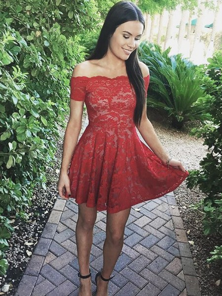 A-line/Princess Short/Mini Lace Short Sleeves Off-the-Shoulder Dresses