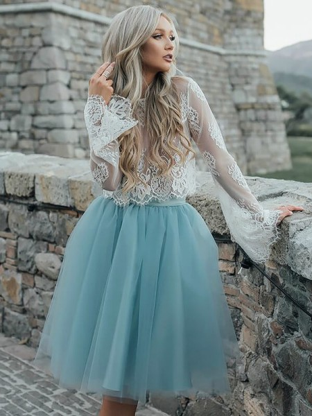 A-line/Princess Short/Mini Tulle Long Sleeves Scoop Dresses