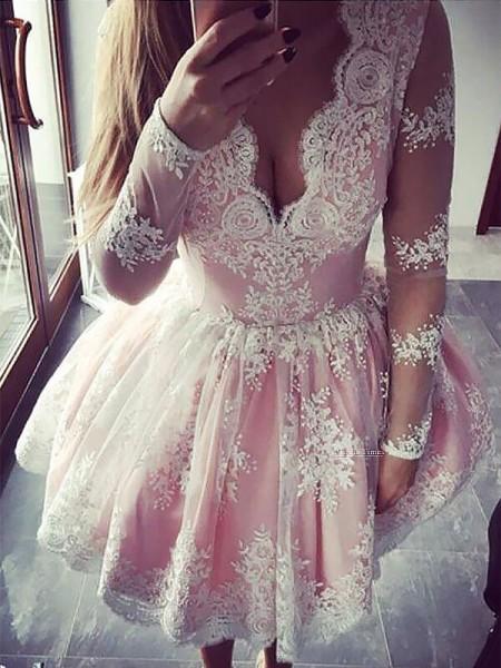 A-line/Princess Short/Mini ace Long Sleeves V-neck Dresses
