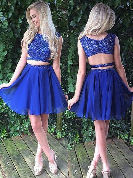 A-line/Princess Short/Mini Chiffon Sleeveless Scoop Dresses