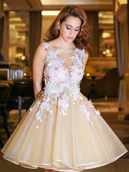 A-line/Princess Short/Mini Organza Sleeveless Scoop Dresses