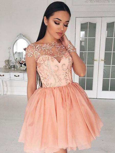 A-line/Princess Short/Mini Chiffon Long Sleeves Bateau Dresses
