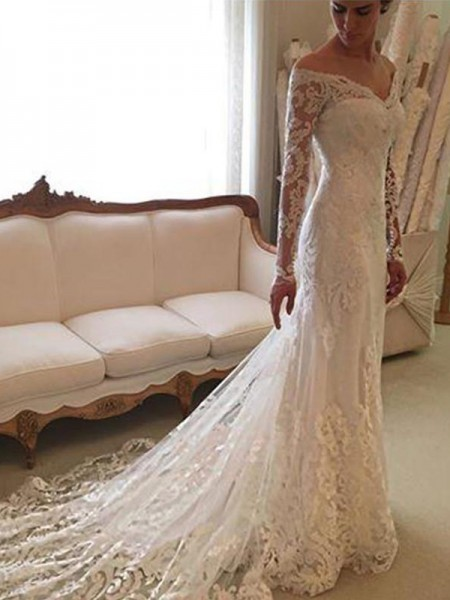 Sheath/Column Court Train Lace Long Sleeves Off-the-Shoulder Wedding Dresses