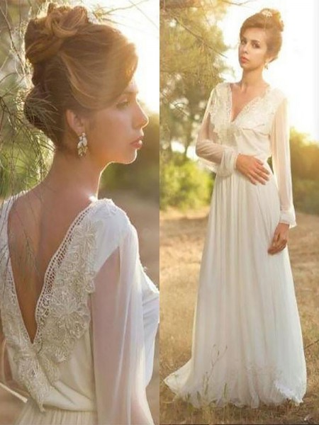 A-Line/Princess Sweep/Brush Train Chiffon Long Sleeves V-neck Lace Wedding Dresses