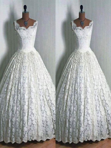 Ball Gown Floor-Length Lace Sleeveless Sweetheart Wedding Dresses