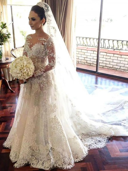 A-Line/Princess Chapel Train Tulle Long Sleeves Bateau Lace Wedding Dresses