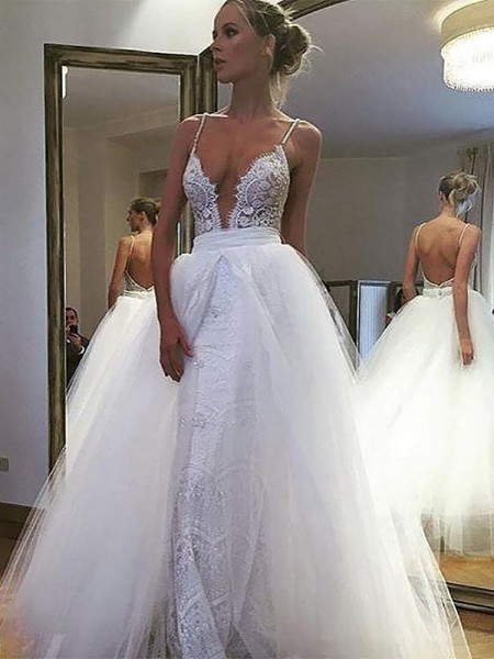 A-Line/Princess Floor-Length Tulle Sleeveless Spaghetti Straps Lace Wedding Dresses