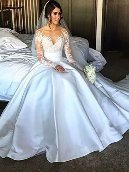 Ball Gown Court Train Satin Long Sleeves Off-the-Shoulder Wedding Dresses