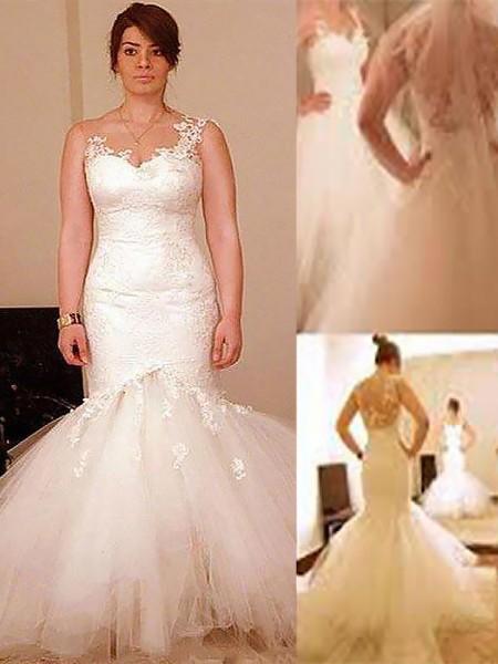 Trumpet/Mermaid Floor-Length Organza Sleeveless Straps Wedding Dresses