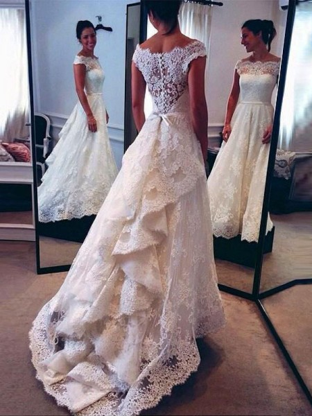 A-Line/Princess Sweep/Brush Train Lace Sleeveless Scoop Wedding Dresses