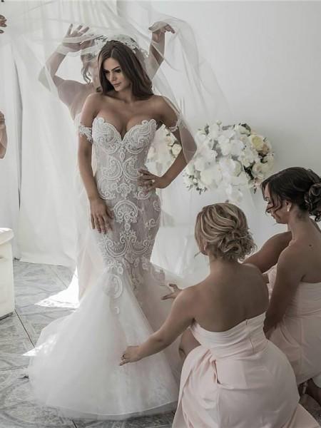 Trumpet/Mermaid Chapel Train Tulle Sleeveless Off-the-Shoulder Wedding Dresses