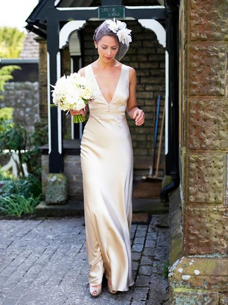 Sheath/Column Floor-Length Satin Sleeveless V-neck Wedding Dresses