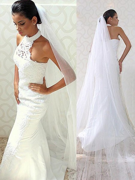 Trumpet/Mermaid Sweep/Brush Train Satin Sleeveless Halter Wedding Dresses