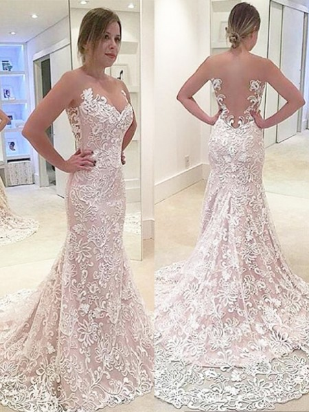 Trumpet/Mermaid Sweep/Brush Train Lace Sleeveless Sweetheart Wedding Dresses