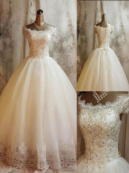 Ball Gown Sweep/Brush Train Tulle Sleeveless Off-the-Shoulder Applique Wedding Dresses