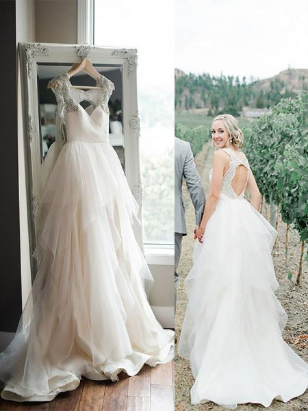 A-Line/Princess Sweep/Brush Train Tulle Sleeveless Straps Wedding Dresses