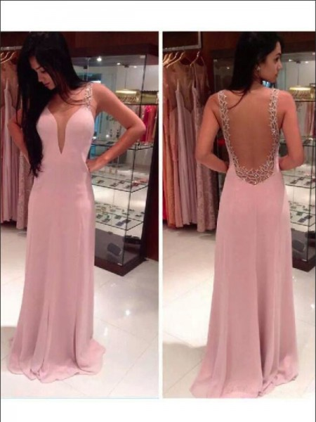 A-Line/Princess Floor-Length Chiffon Sleeveless Straps Beading Dresses