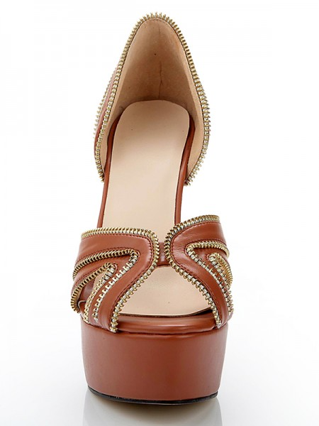 Women's Cone Heel Platform Sheepskin Peep Toe With Zipper Platforms Shoes