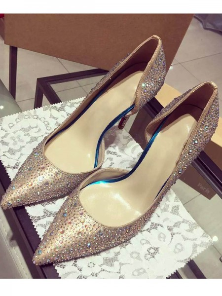 Women's Satin Closed Toe Cone Heel With Rhinestone High Heels