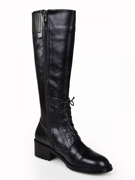 Women's Cattlehide Leather Kitten Heel Closed Toe With Zipper Knee High Black Boots