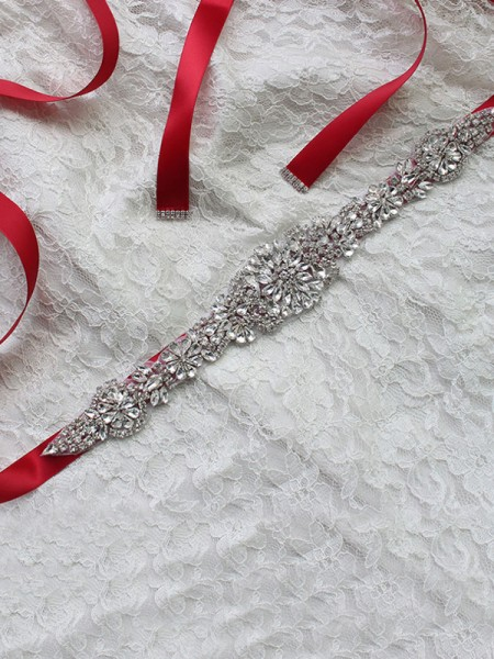 Bridal Wedding Sash Dress Waist Belt With Rhinestones