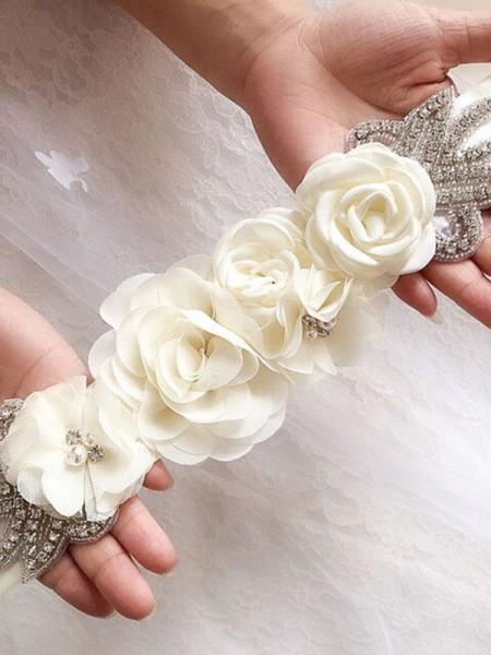 Fashion Bridal Satin Belt Rose Flower Wedding Belts