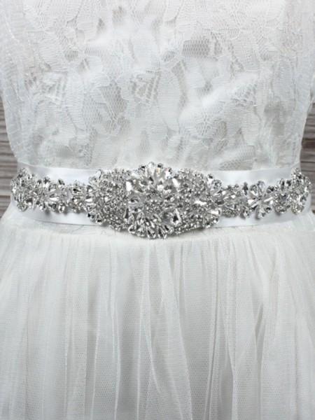 Bridal Wedding Cloth Sash Crystal Rhinestone Ribbon