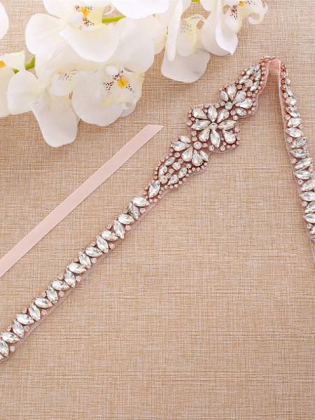 Bridal Wedding Sash Satin Dress Waist Belt With Rhinestones