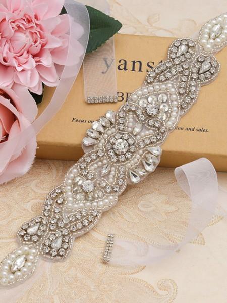 Women's Beautiful Satin/Organza Sashes With Rhinestones/Imitation Pearls