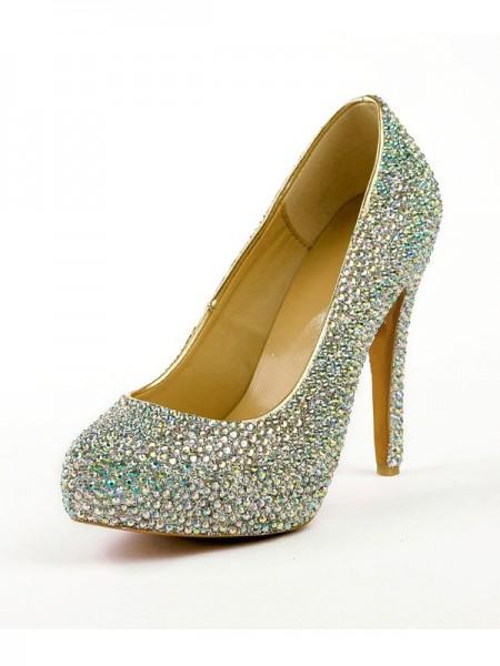 Women's Stiletto Heel High Heels With Rhinestones Platform Platforms Shoes